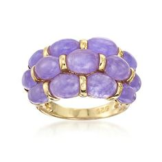 JP: Lavender Jade Cluster Ring in Yellow Gold