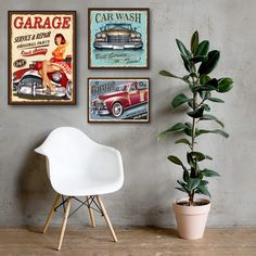 """""""Vintage Metal Car Sign Posters and Prints Wall Pictures Car Wash Retro Poster Garage Home Wall Art Canvas Painting Bar Pub Decor"""" Wall Decor Pictures, Pictures To Paint, Vintage Wall Art, Vintage Metal, Home Wall Art, Wall Art Decor, Paint Bar, Canvas Wall Art, Canvas Prints"""