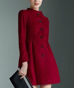 Wine Wool-Blend Flared Coat