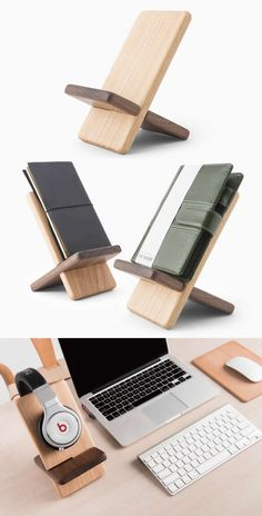 Portable Wooden Tablet Stand Mobile Phone Holder Headphone Hanger