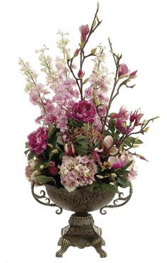 Artificial Flower Arrangements | Floral Arrangements Large Pink Hydrangea arrangement from silk-flowers ...