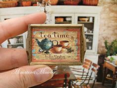 Miniature Dollhouse Wooden Tray, Tea Time Theme