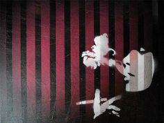 'Smoking through blinds' canvas wall art by Mr Pilgrim. Check out more graffiti art, stencil art, urban art, street art from graffiti artist Mr Pilgrim . Smoking through blinds / Mr Pilgrim Graffiti Art Graffiti Art For Sale, Graffiti Wall Art, Stencil Wall Art, Artist Portfolio, Buy Art Online, Original Art For Sale, Art Auction, Pilgrim, Contemporary Paintings
