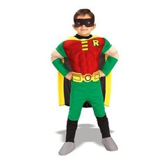 Teen Titans DC Comics Robin Muscle Chest Deluxe Toddler/Child Costume: Size Small (4-6)