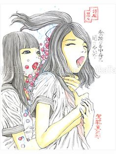 Brand new original painting by Shintaro Kago features two school girls wearing their uniforms. One of them clutches the throat and breast of the girl in front of her. Bright pink