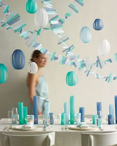 """""""Pop-Up Decorations"""" Celebrate baby's upcoming arrival with the best baby shower decorations that are as practical as they are stylish. There's a baby shower decoration for every stylish mom-to-be. Paper Lantern Centerpieces, Paper Party Decorations, Paper Lanterns, Wedding Centerpieces, Wedding Decorations, Craft Decorations, Backdrop Wedding, Hanging Lanterns, Candle Lanterns"""