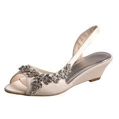 Wedopus MW368 Women's Open Toe Wedge Heel Satin Bridal We...