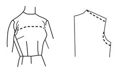 Illustration depicting pattern alteration of bodice for sloping shoulders