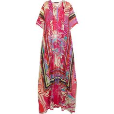 Roberto Cavalli Printed silk-georgette kaftan, Size: 42 (€735) ❤ liked on Polyvore featuring tops, tunics, tassel top, caftan tops, kaftan tunic, roberto cavalli and drape top