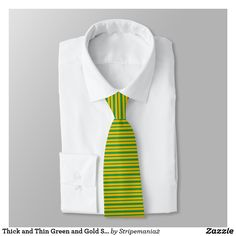 Thick and Thin Green and Gold Stripes Tie