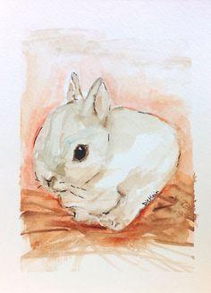 Listening by Colleen Dietlein Watercolor Original ~ 7 x 5