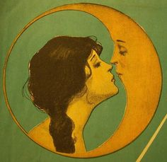 Man in the Moon...I have a tattoo like this on my stomach..minus the lady and has a little star. Got it the day I turned 18.