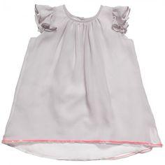 Marie-Chantal - Baby Girls Grey Silk Dress | Childrensalon