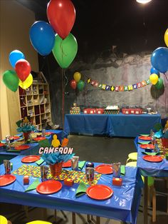 Lego themed party! michelle@happy-playland.com Houston,TX Lego Themed Party, Lego Birthday Party, Party Themes, Birthday Cake, Houston Tx, Happy, Decor, Decoration, Birthday Cakes