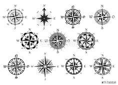 Vector: Antique compasses symbols set