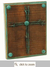 Barbed Wire Cross Plaque (change the turquoise color to a dark blue or red or black)