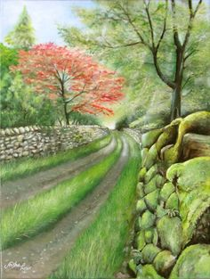 English country lane in the Lake District. Acrylic on canvas by Sasha Taylor