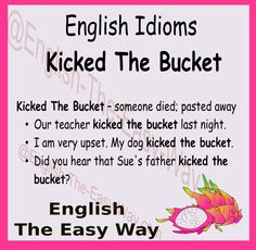 #EnglishIdom I heard the my friends mother died. I don't like it when I hear that people ________. 1. kicked the bucket 2. water