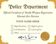 Hey, martial artists, you HAVE remembered to get yourself registered as a deadly weapon, right? If not, I can help you out with that!
