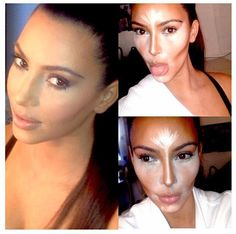 Best Ideas For Makeup Tutorials : Kim Kardashian makeup - Makeup Tutorial Lipstick Face Contouring, Contour Makeup, Contouring And Highlighting, Skin Makeup, Contouring Tutorial, Sultry Makeup, Contour Face, Beauty Make-up, Beauty Hacks
