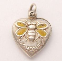 Vintage-Sterling-Silver-Enamel-Bee-My-Honey-Puffy-Heart-Charm