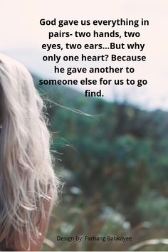 God gave us everything in pairs- two hands, two eyes, two ears…But why only one heart_ Because he gave another to someone else for us to go find. This is a powerful motivational and inspirational quotes for you. quotes videos God Gave us only one Heart Heart Quotes, Faith Quotes, Life Quotes, Encouragement Quotes, Happy Quotes, Positive Quotes, Couple Wallpaper Relationships, Cute Relationships, Relationship Videos