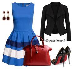 """vestido"" by gessilene-ferreira on Polyvore featuring moda, Closet, Donna Karan, Golden Goose, Christian Louboutin e Effy Jewelry"
