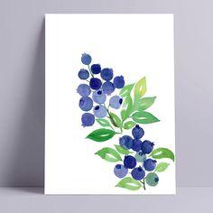 Blueberries Original Watercolor Painting 9x12 | Etsy Watercolor Water, Watercolor Art Paintings, Abstract Watercolor, Watercolor Flowers, Purple Wall Art, Colorful Wall Art, Floral Wall Art, Mail Art, Blueberries