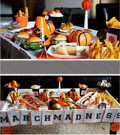March Madness Championships Basketball Party- B. Lovely Events Perfect for American diner/ sporty themes Basketball Party, Basketball Birthday, Sports Party, Basketball Season, Sports Birthday, 13th Birthday, Party Food To Make, March Madness, Game Day Food