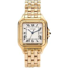 Cartier Vintage 18K Yellow Gold Panthere Watch ($5,875) ❤ liked on Polyvore featuring jewelry, watches, one colour, bracelet watch, gold watches, watch bracelet, bezel watches and 18k gold watches