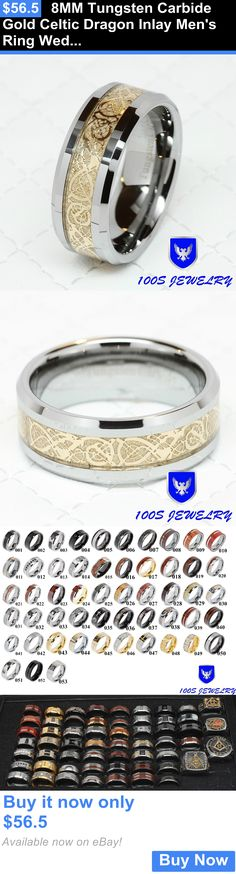 Men Jewelry: 8Mm Tungsten Carbide Gold Celtic Dragon Inlay Mens Ring Wedding Band Size 8-14 BUY IT NOW ONLY: $56.5