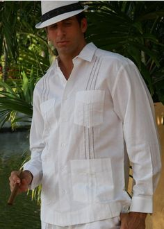 Guayabera Style Long Sleeve for Men Transparent Tucks - Men's Guayabera style long sleeves. Grooms Guayabera for Men. Linen 100 %. Care: Cold wash, Iron, Do not bleach. Dry clean for best result. 4 pockets Guayabera Cuban Style. Availability is subject to change Size Chart Available.