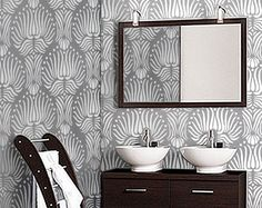 STENCIL for Walls  Art DECO Flower Pattern  by OliveLeafStencils, $39.95