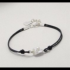 Bracelet beaded with  freshwater Pearl Cotton Thread small bracelet beaded with Freshwater Pearl and SS  Heart Charm. Jewelry Bracelets