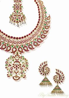 Mirari parure with cabochon rubies, emeralds and diamonds