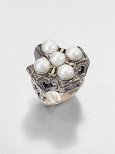 Konstantino Cultured Pearl, Sterling Silver and 18K Yellow Gold Cross Ring | More pearls here: http://mylusciouslife.com/pictures-of-pearls-accessories-necklace-bracelets-earrings-rings/