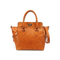 Light Brown Handle Bag (78 PAB) ❤ liked on Polyvore featuring bags, handbags, purses, romwe, women, zipper purse, cross handbags, kiss-lock handbags, monogram handbags and cross purse