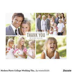 Modern Photo Collage Wedding Thank You Postcard