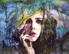 Rosaria Battiloro is a multi-talented artist from Naples, Italy, specializing in pencils, inks, acrylics, watercolors. She created a series of portrait watercolor paintings focusing on emotions and surrealist effect.