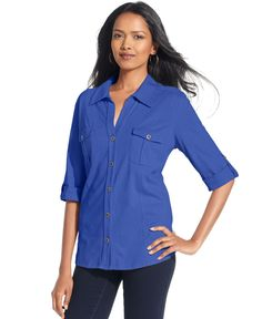 Style & Co. Petite Top, Roll-Tab Jersey Button-Down Shirt