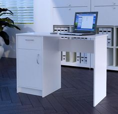White Desk 1 Drawer 1 Door Compact Computer Workstation Home Office Table Tyler | eBay