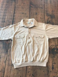 Vintage Men/'s Shirt good for hot weather Haband brand thin mesh polyester material excellent used condition beige tan color