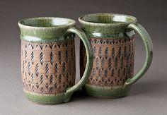 Stoneware Church Key Mugs by natureofclay, via Flickr - pottery - ceramics