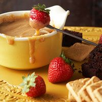 Butterscotch Fondue. turned out great! I cut up strawberries, granny smith apples, plain donuts, and brownies. amazing! it'd be good on anything!