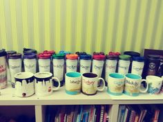 My collection:) Starbucks tumblers & mugs from all over the world.