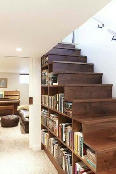 Gorgeous Wood Bookcase stairs -- space savers for tiny homes