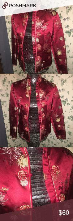 Women's vintage oriental inspired jacket Brilliant red with gold accented women's 80's vintage oriental inspired jacket. Rayon with polyester stuffing. Never worn. Mint condition. Knot buttons are tight, which is good because it's not been used, but will require manipulation. Stunning. Peony Brand Shanghai China Jackets & Coats