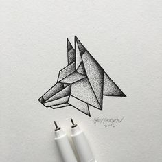 Lines and dots make up this simple geometric fox. Illustration by @samlarson.