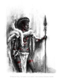 "Cover art for the illustrated book ""La Fuerza de los Fuertes"" (""The Strength of the Strong"") by Jack London, published by Ediciones Traspiés. #warrior #woman #hunter #savage #spear #wild #goddess #tribal #primitive #black #african #moon #pagan #paganism #art #illustration #blood #white #red"