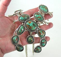 Authentic Vintage Navajo sterling silver Royston Turquoise Squash Blossom Necklace and Earrings set
